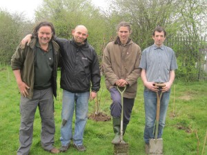 Steve (left) with a community growing team in Liverpool