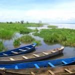 Boats at one of Uganda's many lakes