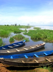 Boats at one of Uganda's many lakes