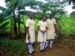 School girls show us some of their replanting efforts