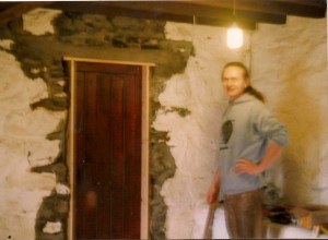 Andreas Heigl, was the first of our friends and supporters to contribute to the Chickenshack loanstock fund. Here he is helping fit the door from the cottage to the larder, some years later.