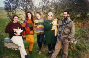 7 of the original inhabitants at Chickenshack. Steve Jones, with Thomas Twp, Sue Cameron, Iona Sawtell, Rachel Lilly with Fluffy Orange Cat and Ivan Courtier